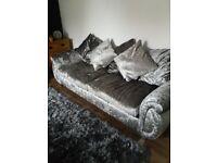 New 4 seater silver crushed velvet sofa