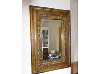 Antique Indian hand carved mirror