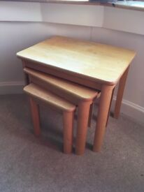 Pine wooden large to small coffee tables x 3, living room office, good condition