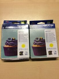 2x Yellow LC123Y Ink Cartridges for Brother Printer