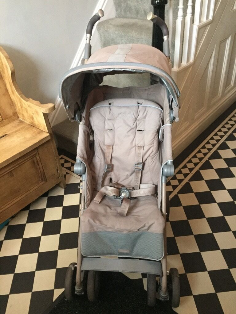Maclaren Techno XT Champagnein Romiley, ManchesterGumtree - Good used condition 5 point safety harness Shock absorbing 4 wheel suspension Oversized shopping basket Oversized waterproof hood Extendable UPF 50 sun canopy and built in sun visor viewing welcome