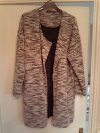 BONMARCH'E CARDIGAN/COAT FULL LENGTH SIZE 16 WORN ONCE IMMACULATE OATMEAL & BLACK