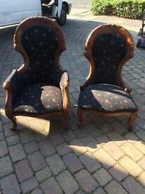 His and hers Victorian reproduction chairs