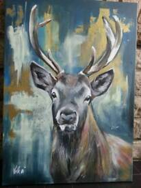 Original painting - Stag in gold and navy - NEW