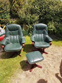 Dark green keathrr swivel recliner chairs x 2 and 1 x footstool