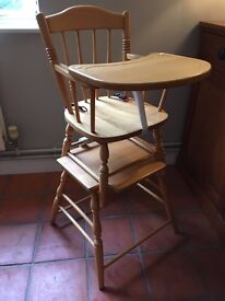 Traditional Pine Child's High Chair.