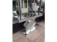 Floating Crystal Mirrored Console Table