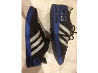 Adidas Neo label black/ blue worn trainers size 10 1/2. - Halewood