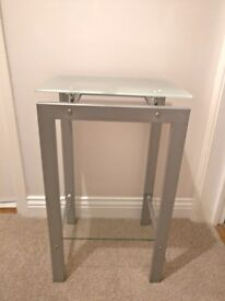 Small metal and glass lamp table