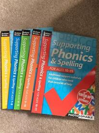 Supporting phonics and spelling 6 books