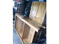 Oak furniture - bookcase/wardrobe and bedside table