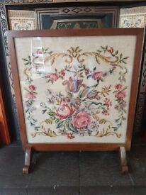 Mahogany Framed Tapestry fireguard