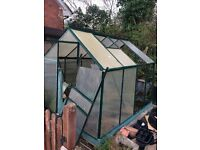 Aluminium framed Green house 2.5m x 1.9m (approx. internal size) wind damaged in need of repair