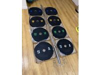 """BRAND NEW 120kg Olympic bumper barbell set 2"""" 2 inch 7 foot 20kg weight weights plates bar crumb gym"""