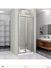 900mm bi fold chrome shower door