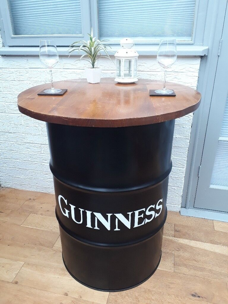 Superb Guinness Oil Drum Bar Table Industrial Shabby Chic