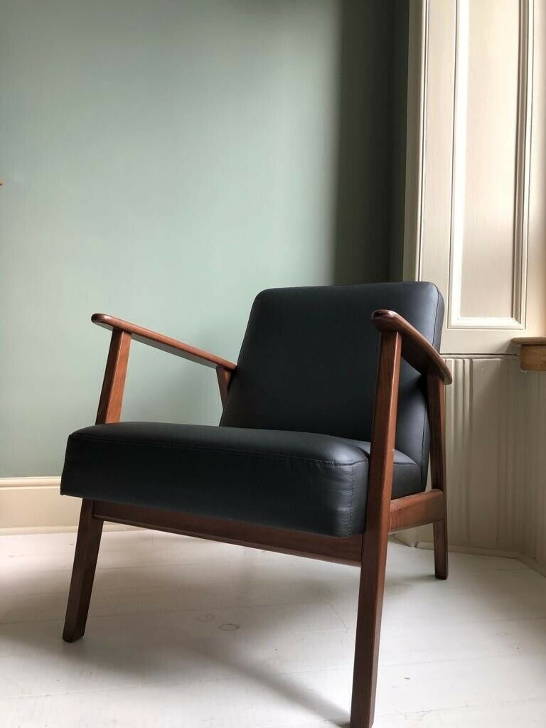 IKEA Ekenäset Armchair - Black Leather - mid century *SOLD ...