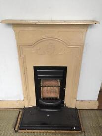 ANTIQUE PERIOD RARE REAL CAST IRON FEATURE GAS FIRE CREAM HEATER FOR CHIMNEY BREAST SURROUND