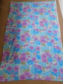 Large piece of lightweight linen feel 70's look fabric 56w x 77l blue purple floral