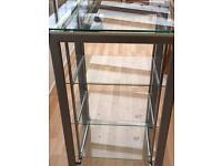 Glass/chrome shelf unit