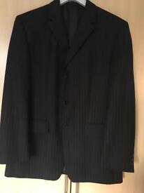 Men's regular fit black pinstriped suit