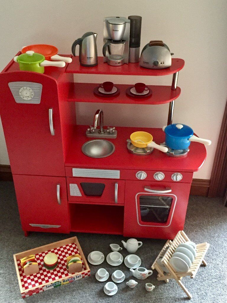 Kid Kraft Retro Red Kids Kitchen plus lots of 'extras' (see pics and description)