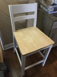 White and brown wooden bar chair