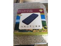 Single inflatable bed with built in pump new in box