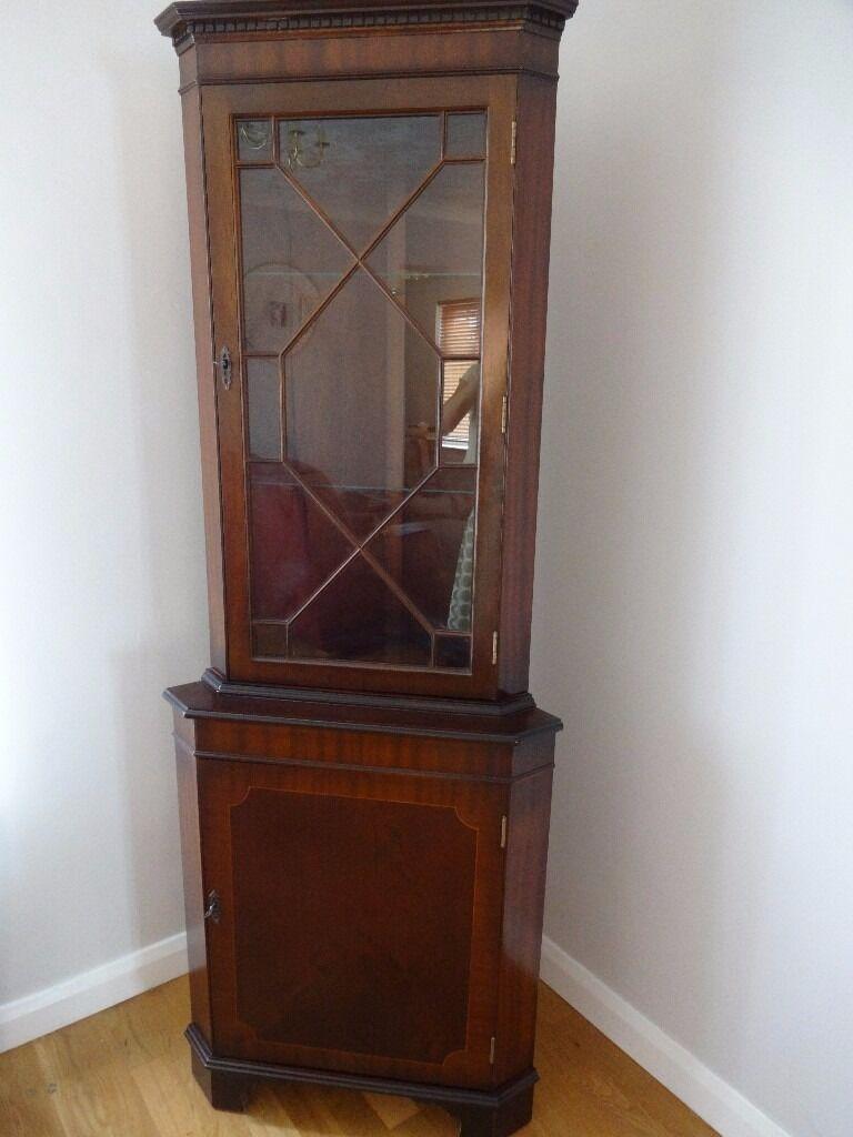 Mahogany Dark Wood Corner Unit Display Cabinet Vintage