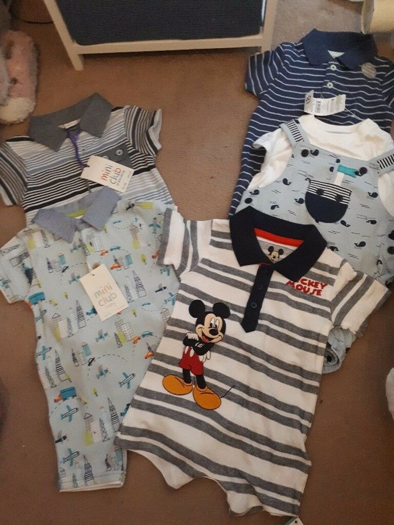 Set of five brand new baby boy rompers 0-3 months