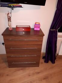 walnut wardrobe and chest of drawers
