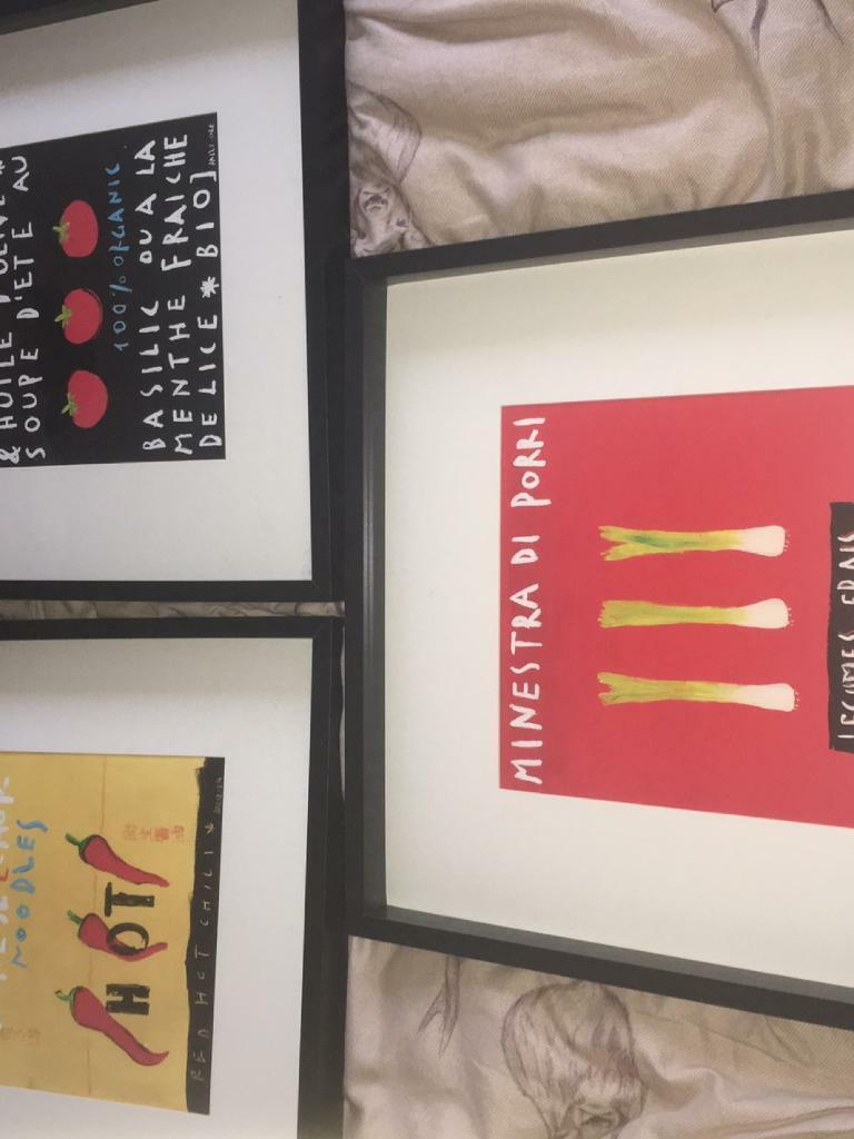 Framed IKEA kitchen pictures