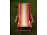 Old Striped Folding Deckchair