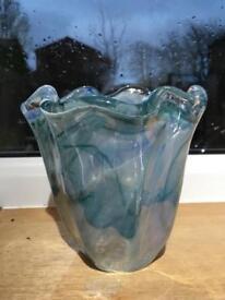 Ruffle murano glass vase