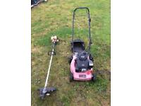 Petrol Lawnmower And JCB Strimmer