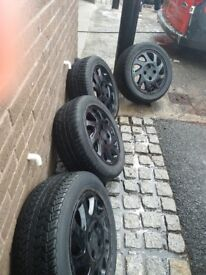 Black Honda Civic Wheels with tyres x 4. 205/55R15.