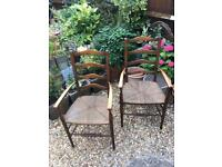 Pair of vintage ladder back kitchen chairs