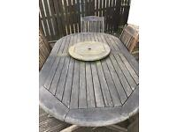 Wooden Garden Table & 5 Chairs