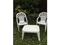 Garden Furniture - Two Chairs & Coffee Table - White Plastic