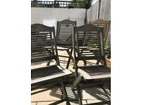 4 x wooden garden chairs