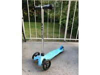 Mini Micro scooter for 2-5 yr olds, aqua , used but very god condition