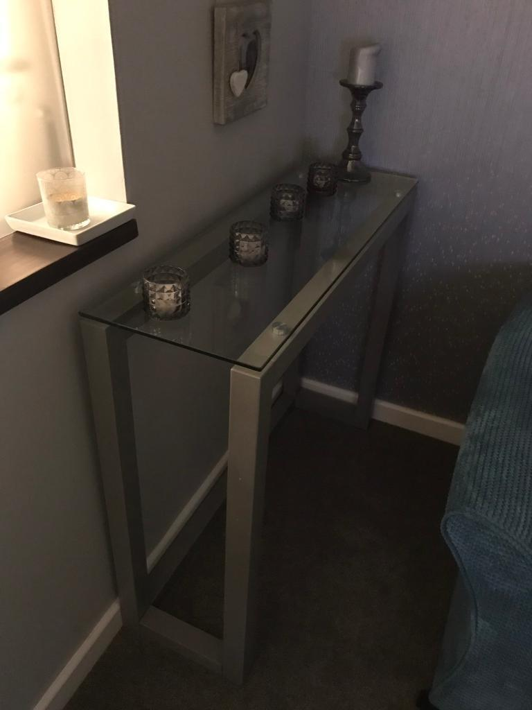 Next grey wood and glass top brooklyn console table in great next grey wood and glass top brooklyn console table in great condition almost new geotapseo Choice Image