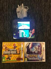Nintendo 2ds + Mario, mario kart and Pokemon moon
