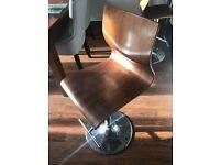 Chrome and walnut bar stools x2