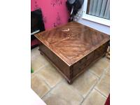 Beautiful Solid Oak square table with side drawers