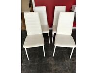 4 white dinning kitchen chairs