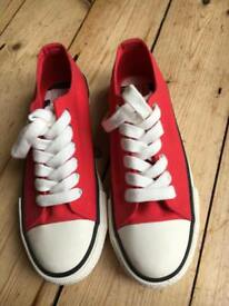 Next - brand new Red canvas lace- up trainers size 3.5