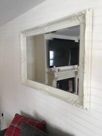 Large French Ornate Cream Mirror