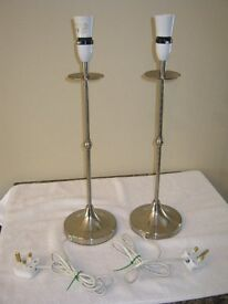 Pair of tall chrome Table lamps supplied with or without new shades
