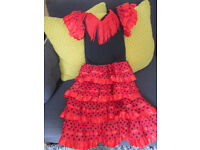 GIRLS SPANISH DRESSING UP OUTFIT - AGE 6-8 - EXC COND.